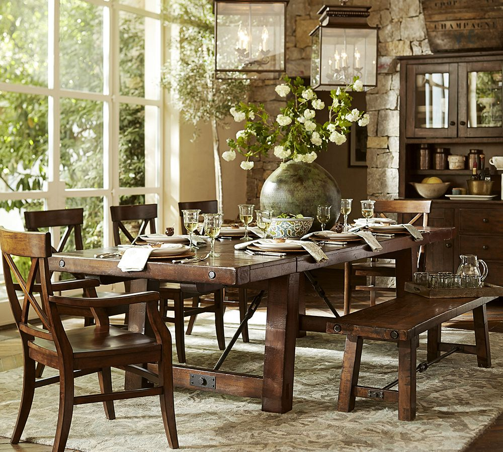 rustic dining table pottery barn photo - 5