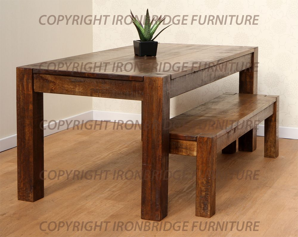 rustic dining table with bench photo - 2