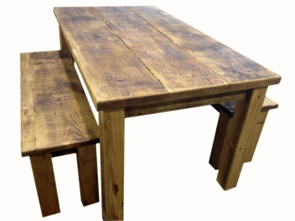 rustic dining table with bench photo - 7