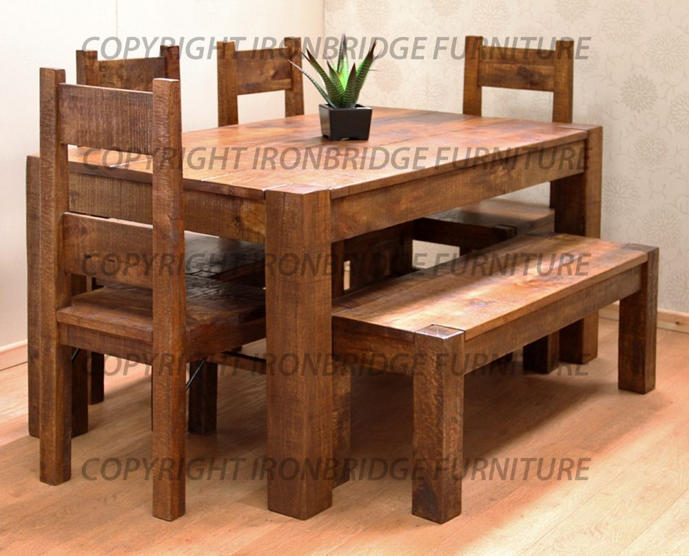 rustic dining table with bench photo - 8