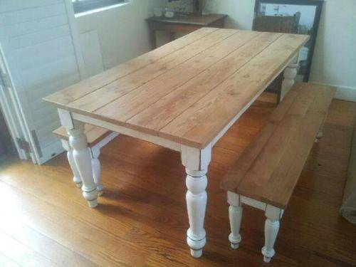 Exceptionnel Rustic Pine Dining Table Bench Photo   4