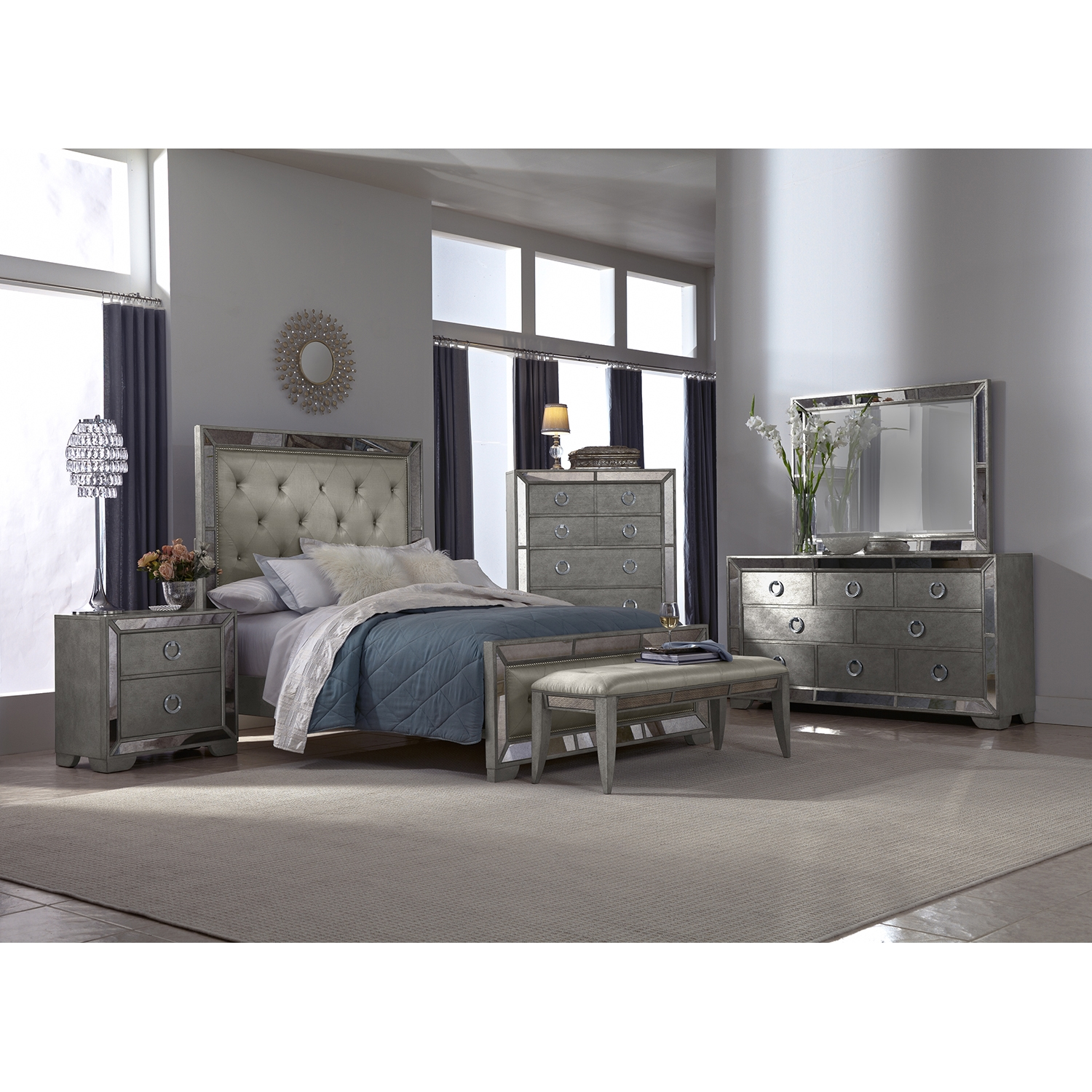 silver bedroom furniture sets photo - 5