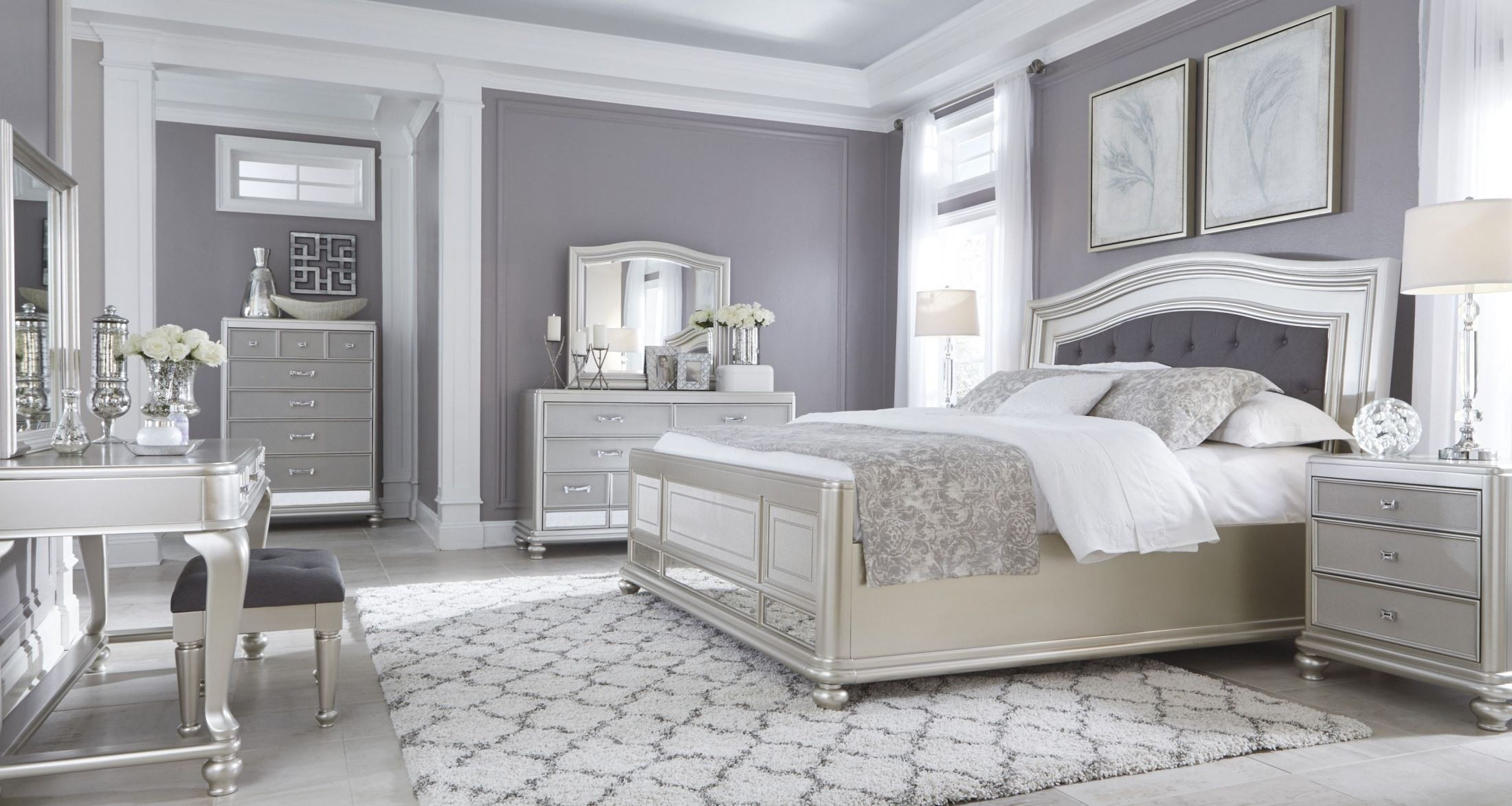 silver bedroom furniture sets photo - 6