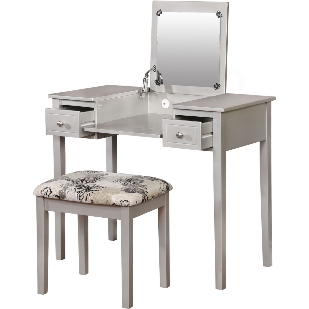 silver bedroom vanity sets photo - 10