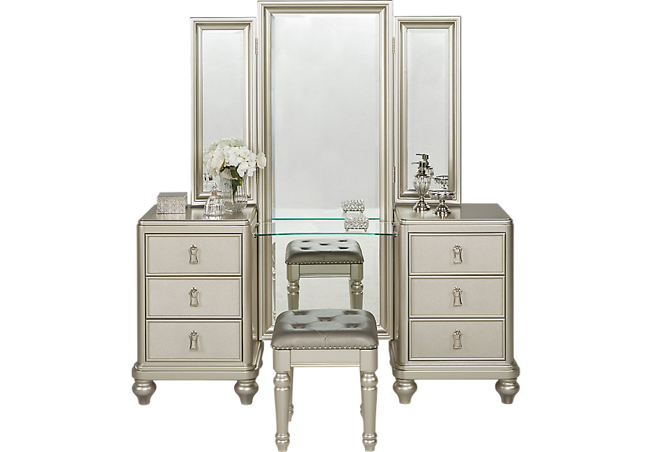 silver bedroom vanity sets photo - 8