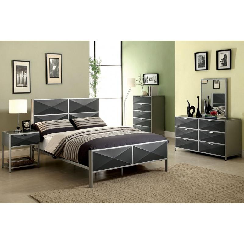Elegant Silver Metal Bedroom Sets Photo   6