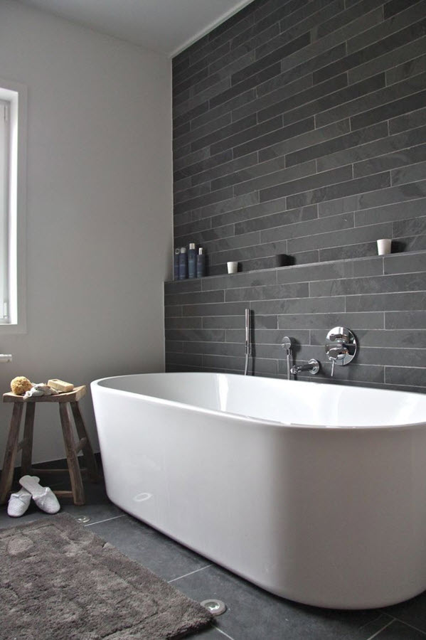 Attirant Slate Tiles Bathroom Wall Photo   1
