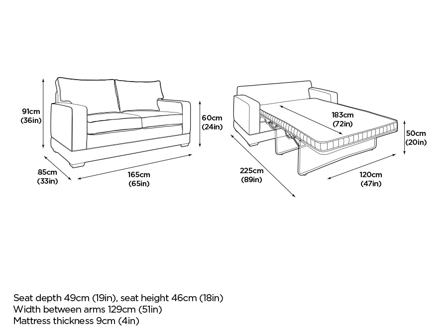 Sleeper Sofa Dimensions Hawk Haven