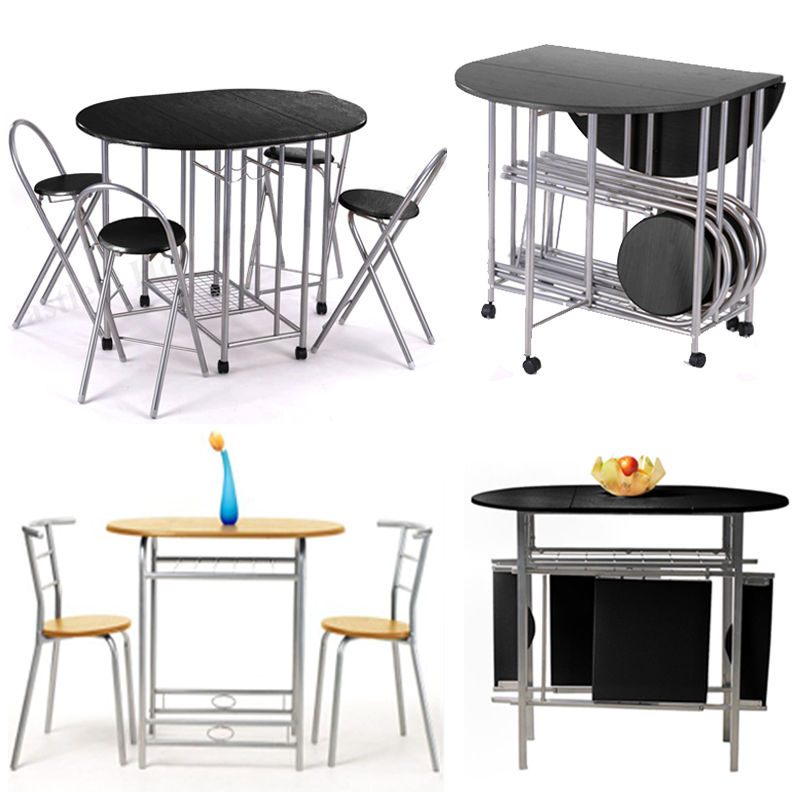 small folding kitchen table and chairs photo - 3