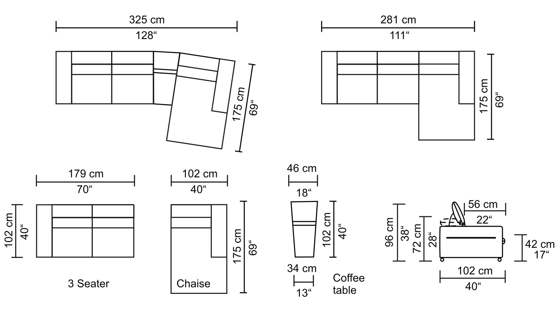 small sectional sofa dimensions photo - 6