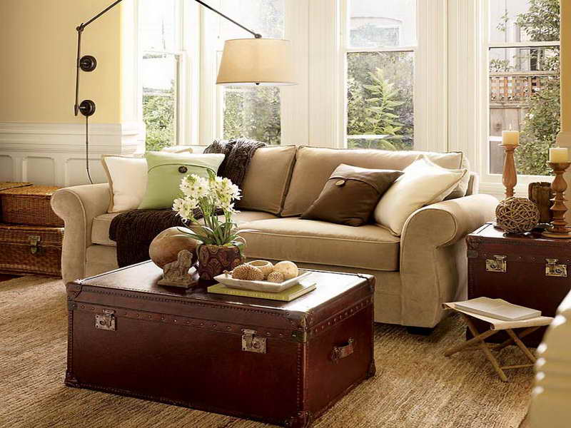 Small Sectional Sofa Pottery Barn Hawk Haven - Pottery barn red coffee table