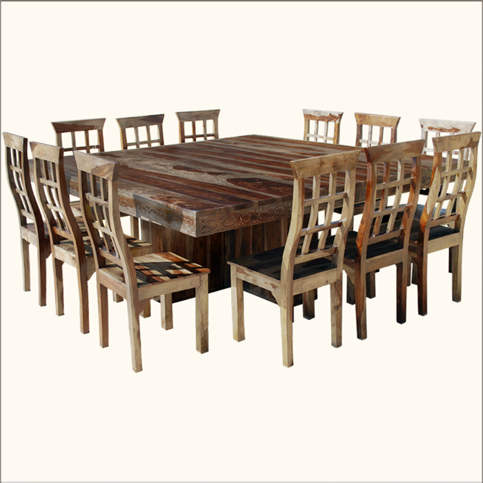 square dining table seats 12 photo - 2