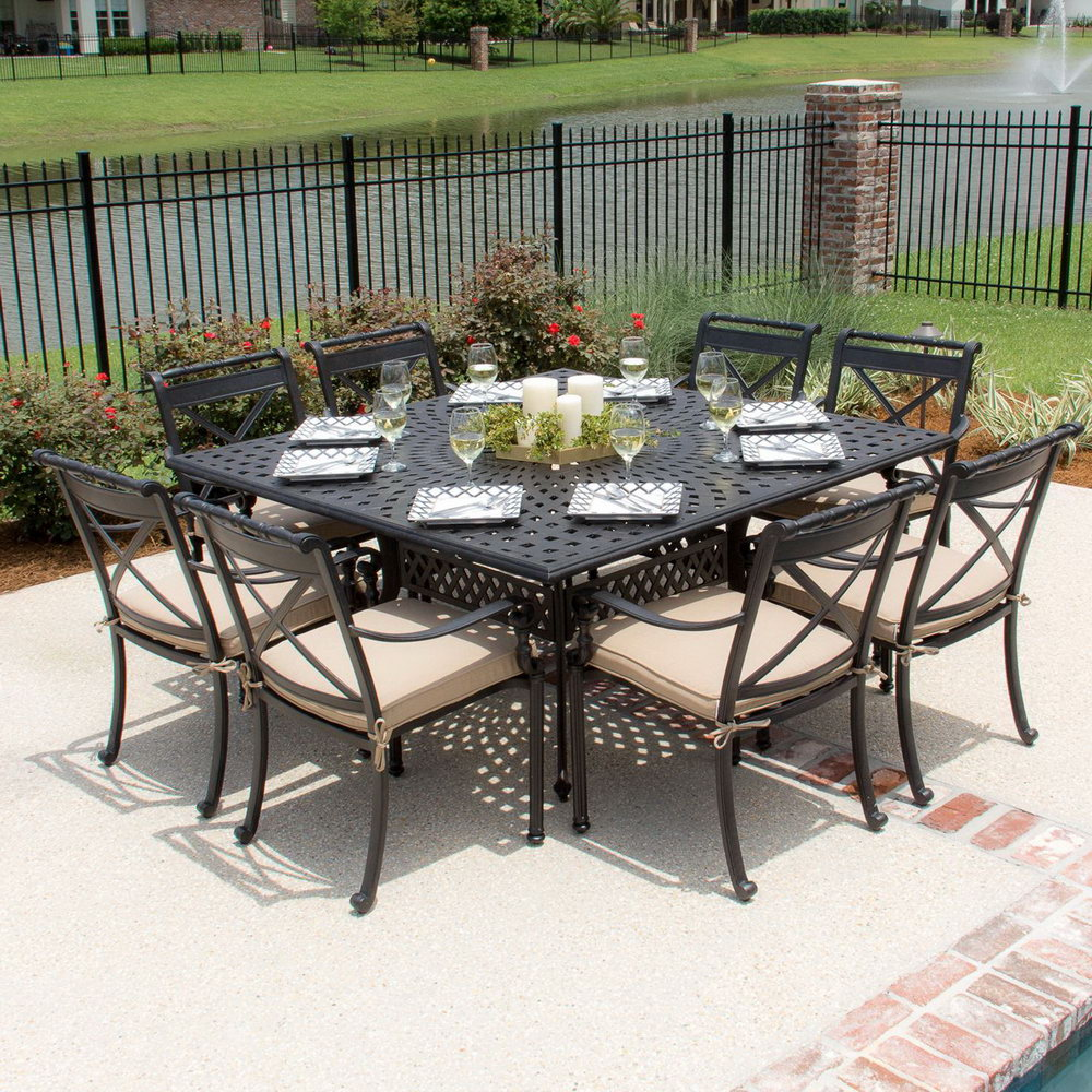 square dining table seats 8 hawk haven. Black Bedroom Furniture Sets. Home Design Ideas