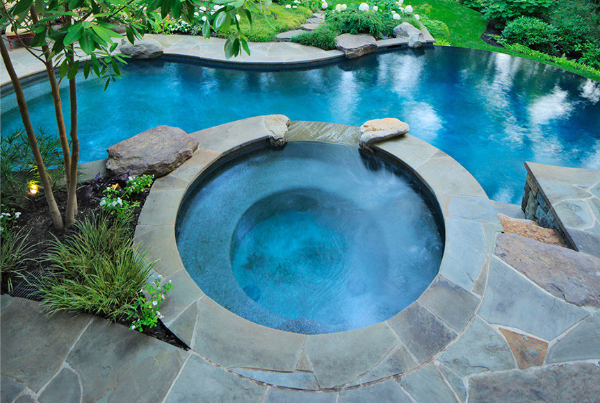 swimming pool designs with hot tub photo - 10