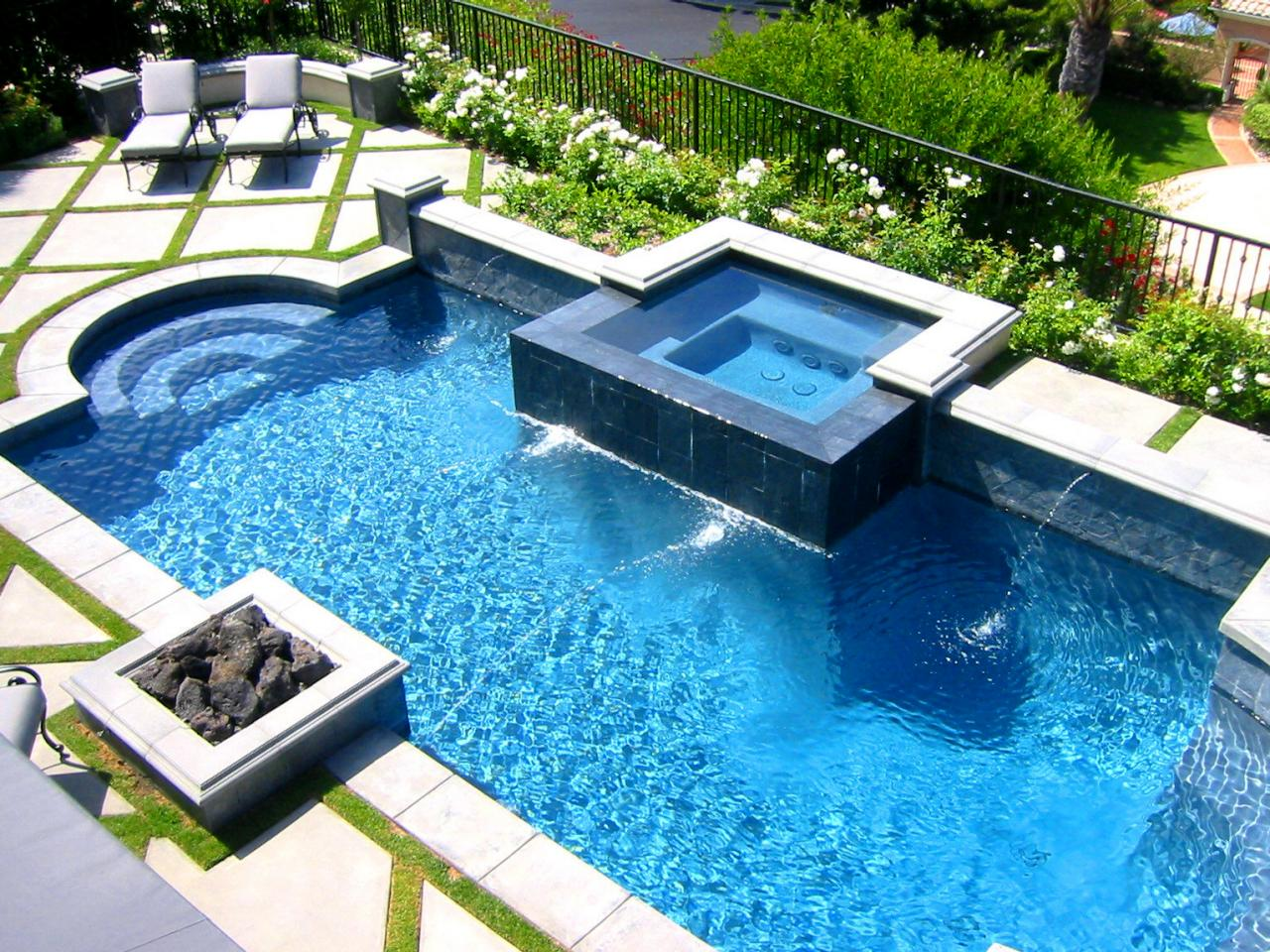 swimming pool designs with hot tub photo - 3
