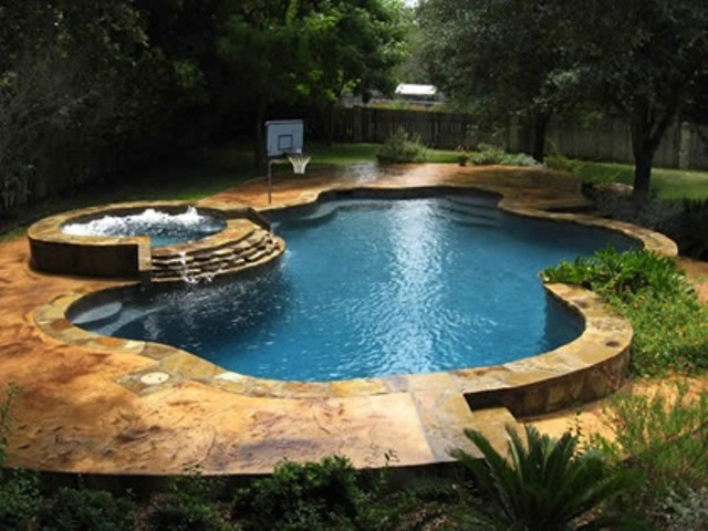 swimming pool designs with hot tub photo - 4