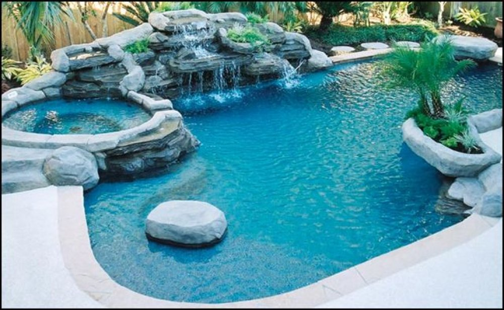 swimming pool designs with hot tub photo - 5