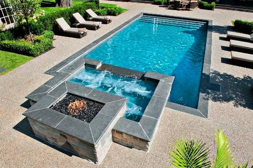 swimming pool designs with hot tub photo - 8