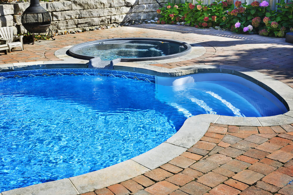 swimming pool designs with hot tub photo - 9