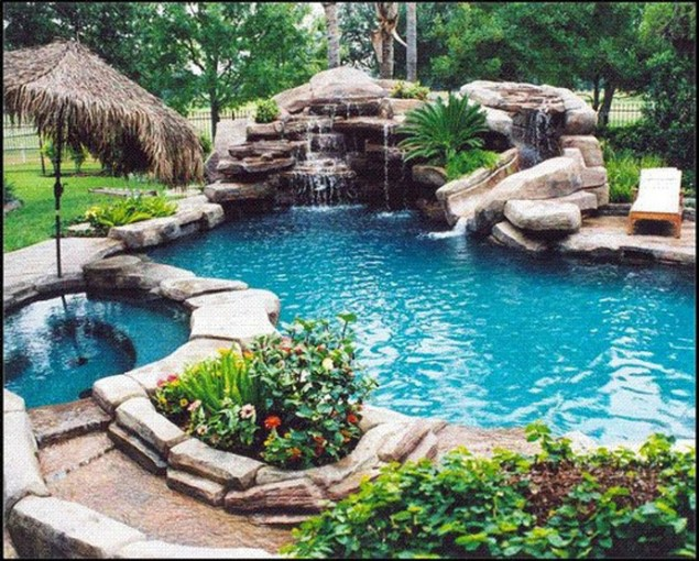 swimming pool designs with rocks photo - 4