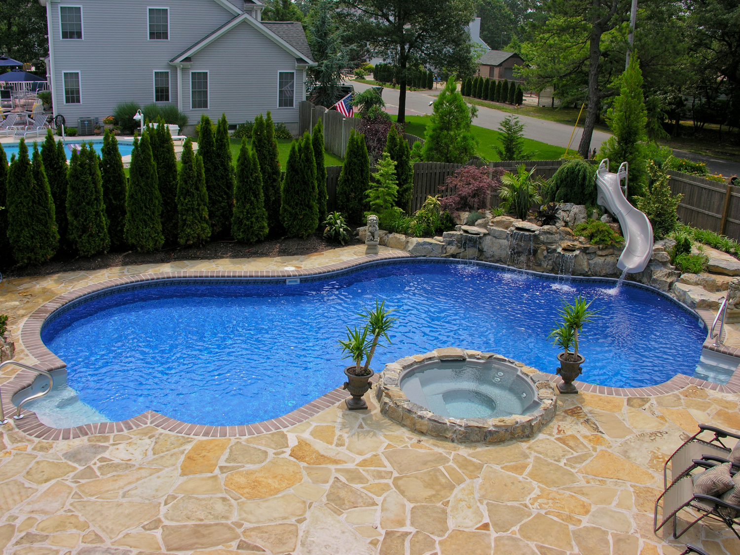 swimming pool designs with slides photo - 3