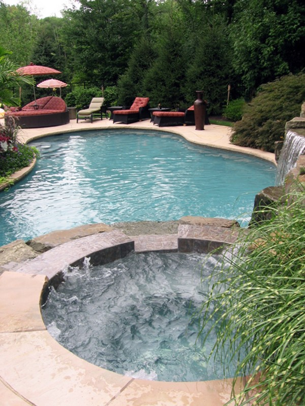 swimming pool designs with spa photo - 10
