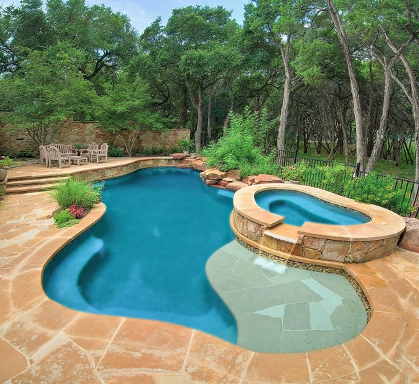 swimming pool designs with spa photo - 6