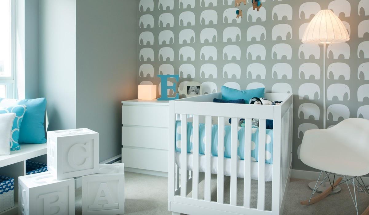 teal wallpaper interior design photo - 1