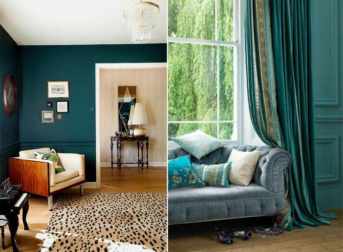 teal wallpaper interior design photo - 2