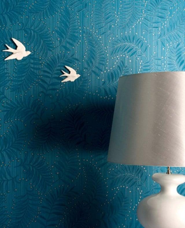 teal wallpaper interior design photo - 4