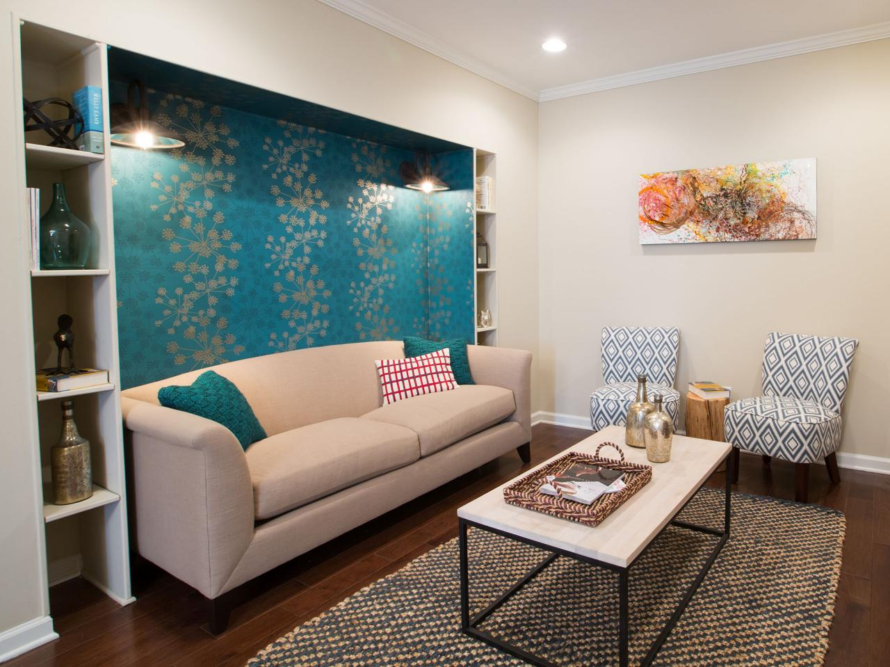 teal wallpaper interior design photo - 6