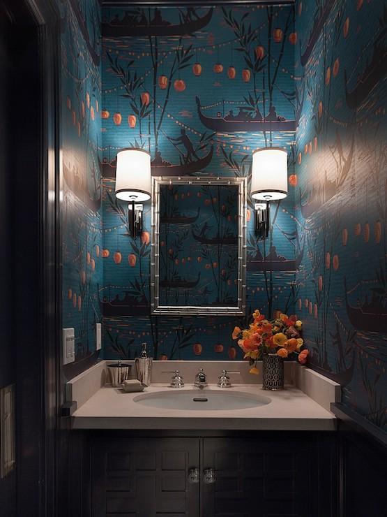 teal wallpaper interior design photo - 7