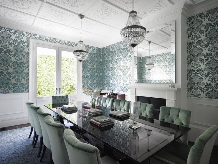 teal wallpaper interior design photo - 8