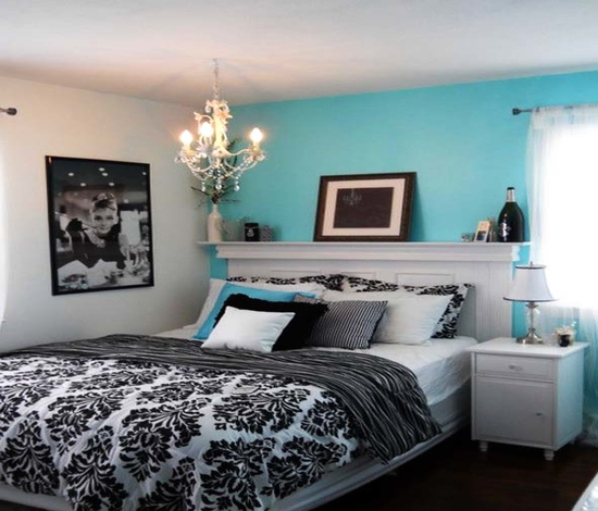 tiffany blue and black and white bedrooms photo - 6
