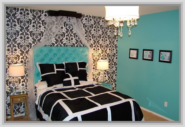 tiffany blue and black and white bedrooms photo - 9