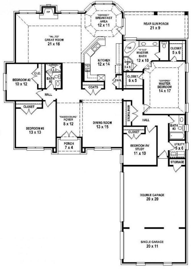 traditional 4 bedroom house plans photo - 5