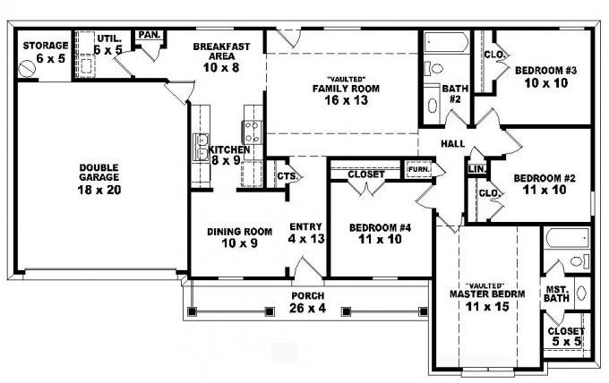 traditional 4 bedroom house plans photo - 9