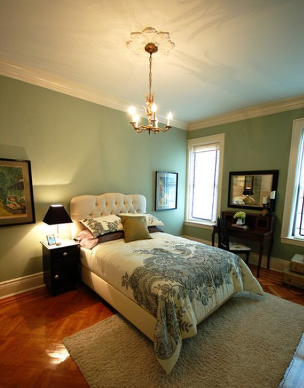 traditional green bedroom photo - 1