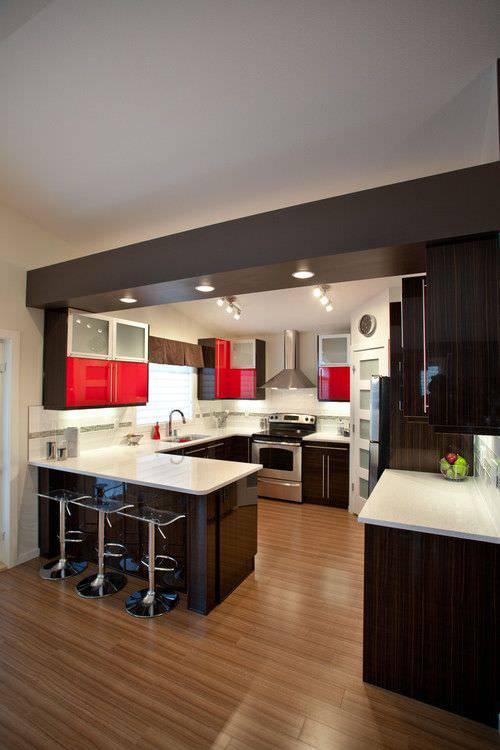 u shaped kitchen lighting photo - 4