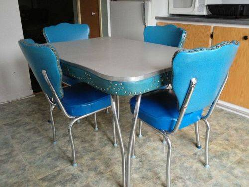 vintage blue kitchen table photo - 1