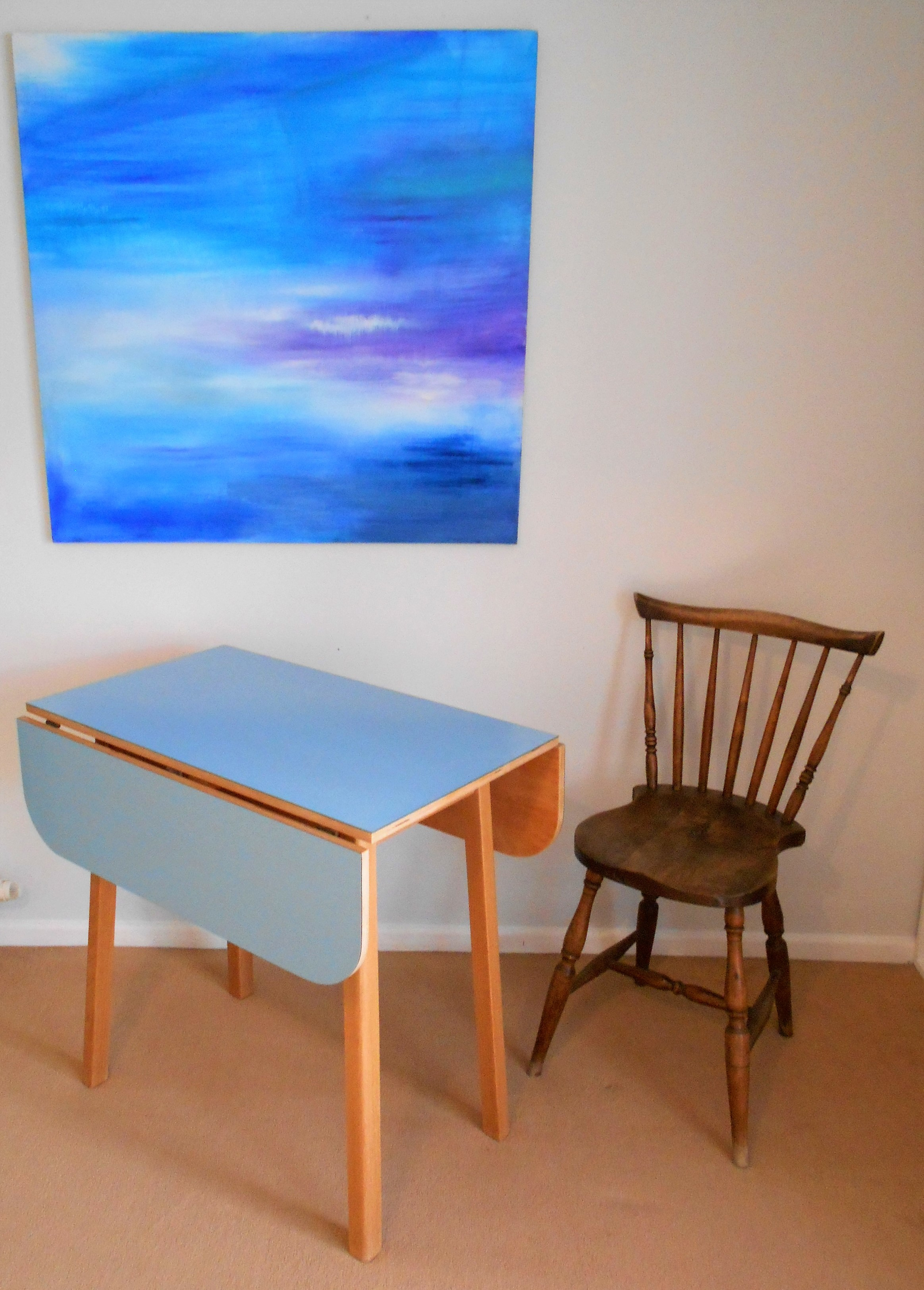 vintage blue kitchen table photo - 10
