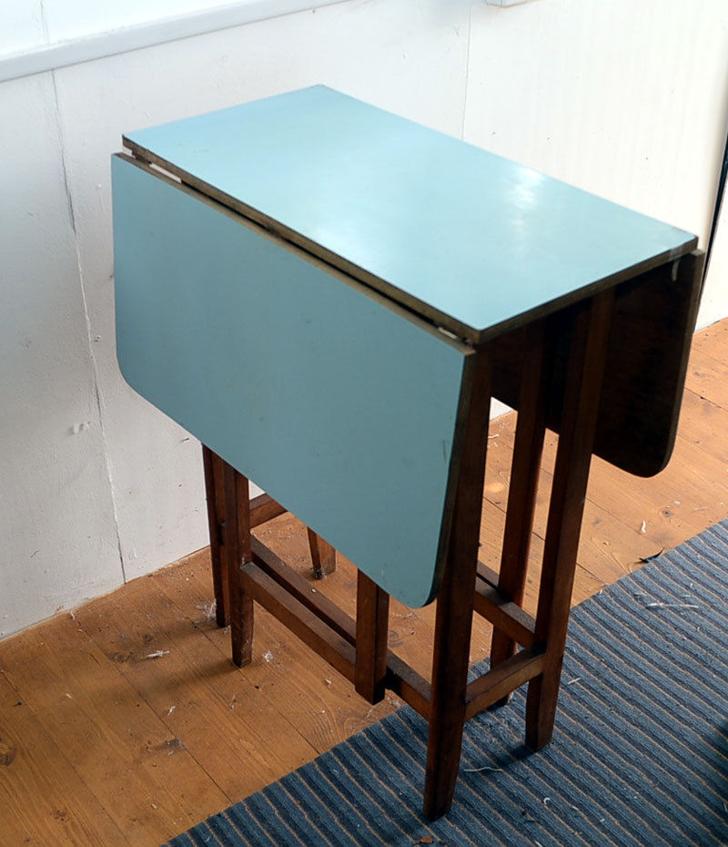 vintage blue kitchen table photo - 2