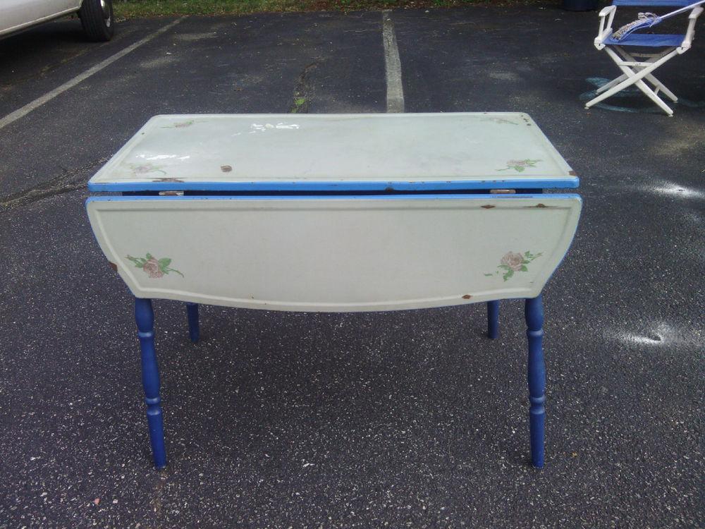 vintage blue kitchen table photo - 4