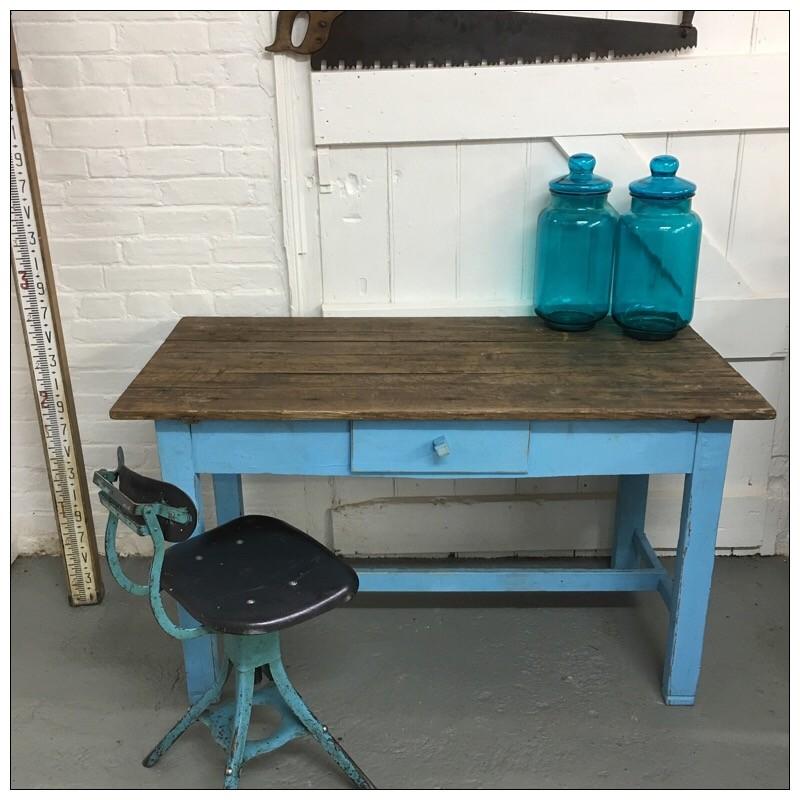 vintage blue kitchen table photo - 5