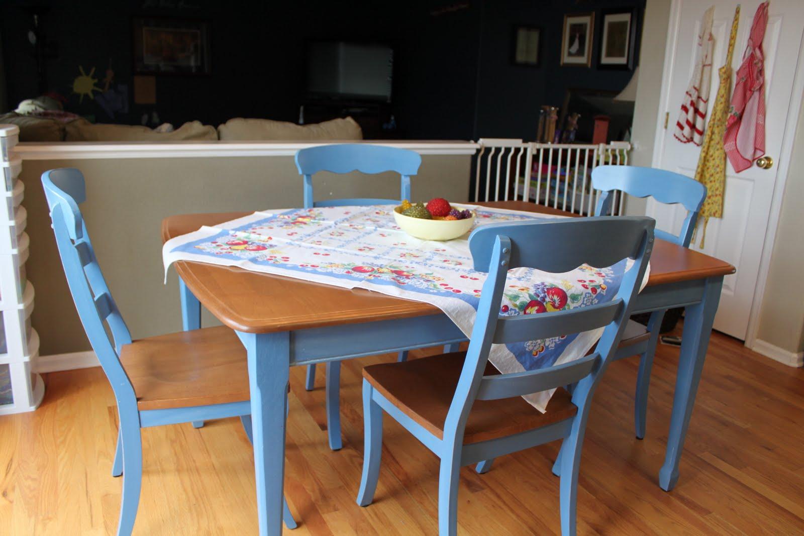 vintage blue kitchen table photo - 6