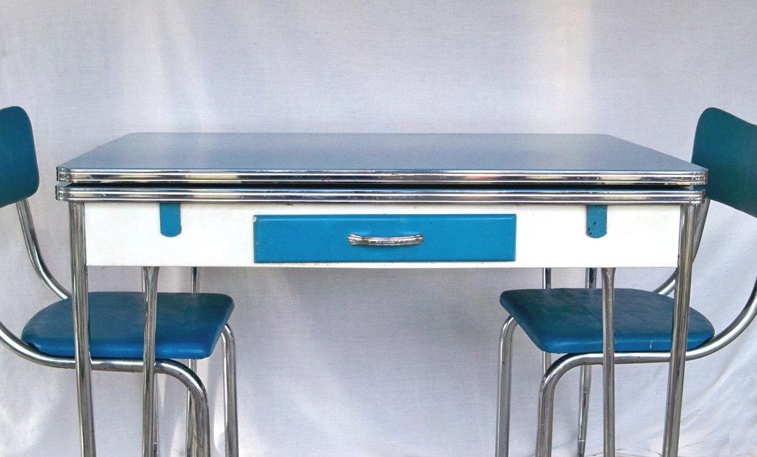 vintage blue kitchen table photo - 7