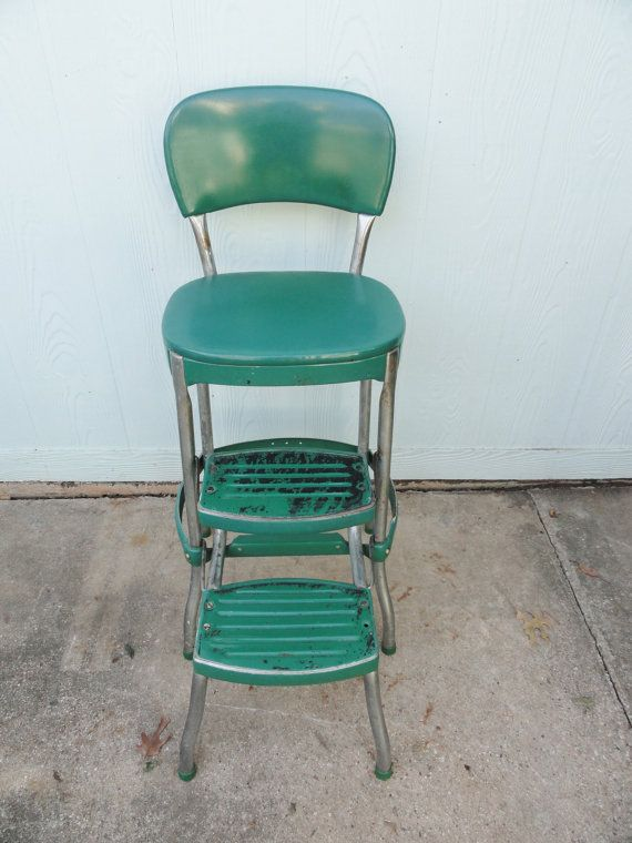 Vintage Kitchen Retro Chair Bar Step Stool Photo 5