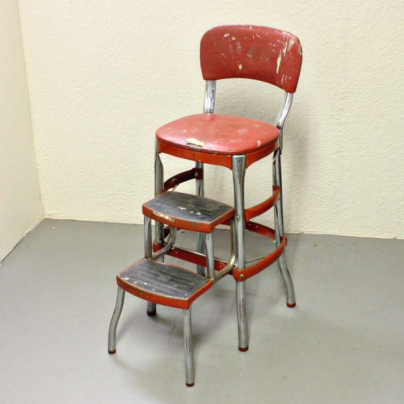 vintage kitchen retro chair bar step stool black photo - 10