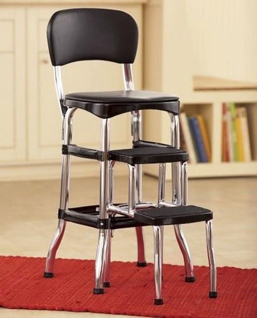 vintage kitchen retro chair bar step stool black photo - 2