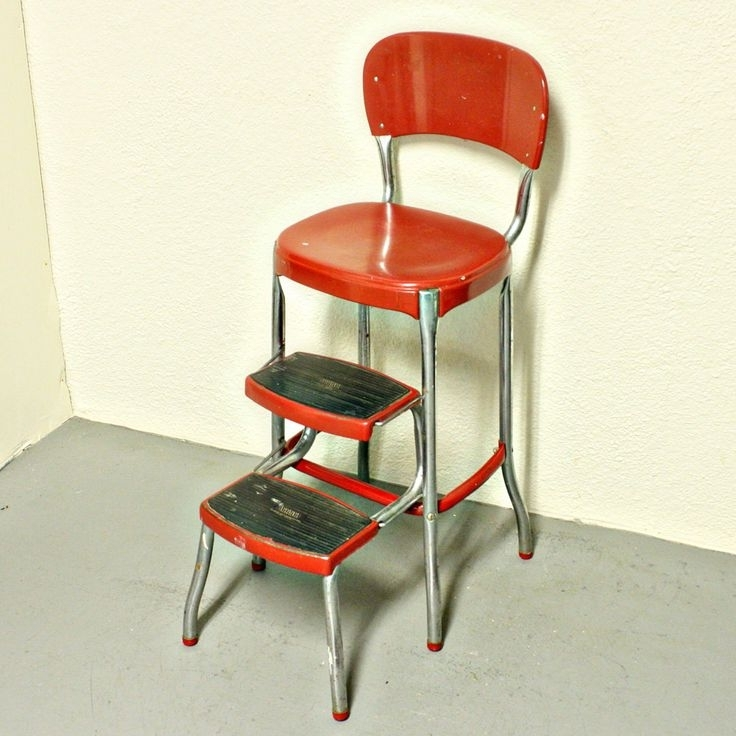 vintage kitchen retro chair bar step stool red photo - 2